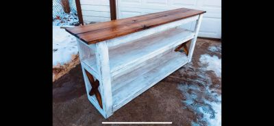 Rustic entertainment center sofa table