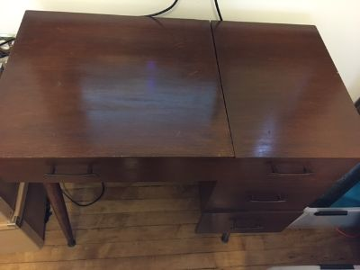 1950s MCM Sewing Table & Coronado Sewing Machine
