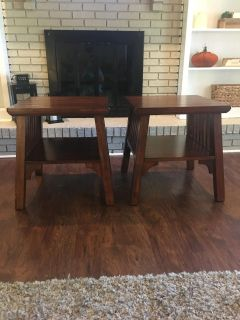 Matching dark wood side tables