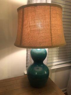 Teal and burlap lamp