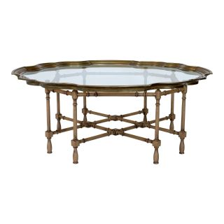 Faux Bamboo and Brass Baker Style Coffee Table
