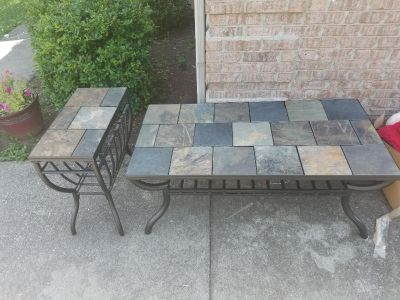 Slate rock coffee table and end table
