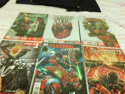 $20, SellingSET 4 Comic Books of Deadpool Corps 1,Thunderbolts20 to32,Plus Signed Spiderman Card