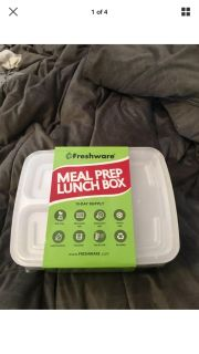 Fresh-ware Meal Prep Container 15 Pack 3 Compartment with Lids