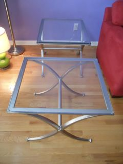 2p pair Rectangular silver Metal & Glass accent Living room tables set