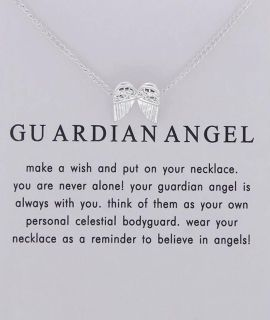 New Silver Guardian Angel Wings Never Alone Necklace