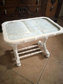 Small antique shadow box side table