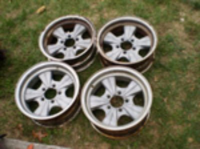 Parts For Sale: RARE BATMOBILE Vintage Mickey Thompson Rader Wheels GASSER RAT ROD HOT ROD DODGE FORD AMC 5 ON 4 1/2 BOLT PATTERN 14X6