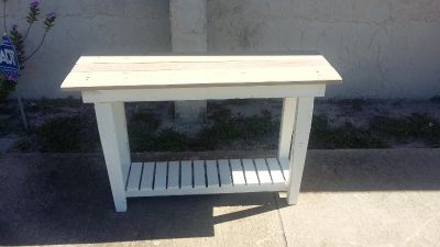 Primitive White Painted Table with Weather Wood Top.