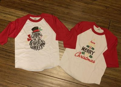 Kids Unisex raglan Christmas shirts; new w/out tags; size Med; $19 each or $33 for both