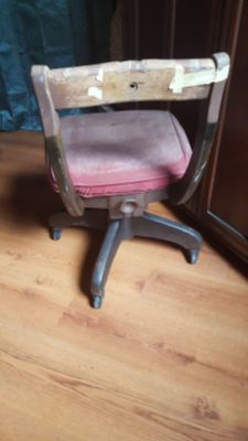 Mid Century Wood And Suede Office Chair
