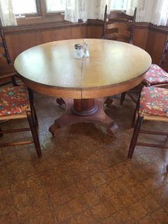 Antique oak round dinette table