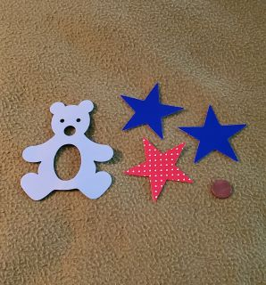 Blue Teddy Bear & Star Die Cuts