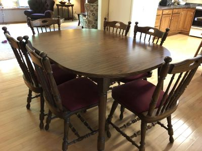Dining Room Set w/ 4 leaves and 8 chairs