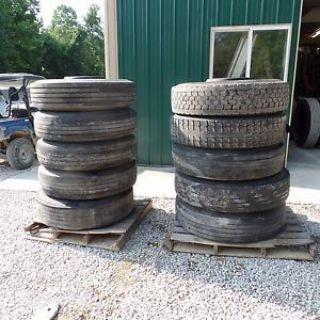 Buy 10 Used tires wheels 2 11.00R24 8 11.00r22.5 Load range H Tube-type bud stile motorcycle in Unionville, Indiana, United States