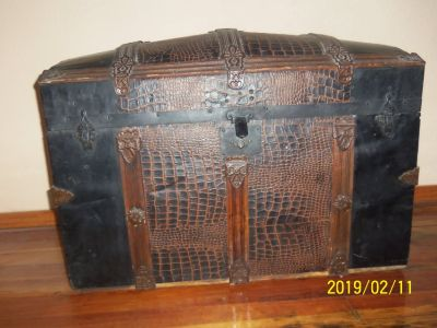 Antique Humpback Steamer Trunk