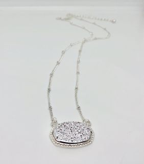 Brand New Silver Druzy Necklace on Silver Ball Station Chain