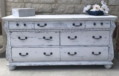 Dresser distressed white with blue highlights