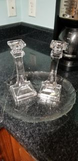 Glass serving tray and 2 candle holders