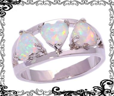 New - White Fire Opal Hearts Ring - Size 5