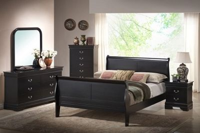 Queen or Full All Wood Bed with Dresser, Mirror, Chest & One Nightstand - Black or Cherry - Financing Available