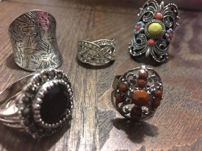 Costume jewelry rings $5 each, necklace & earrings $10 set