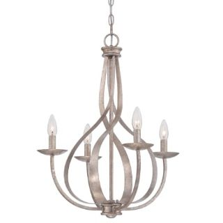 """Quoizel SER50041F Serenity 4 Light 20"""" Wide Candle Style Chandelier"""