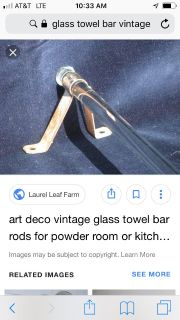 Vintage glass towel rod (I have two clear glass ones) sold separately
