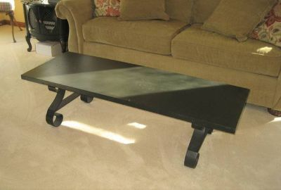 Black Wood Coffee Table with Wrought Iron Legs - LANE