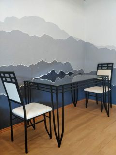 Simple Glass Top Dinning Table Set/Coffee Table Set