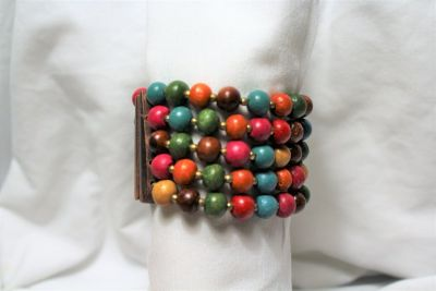 Wood Bead Pink Blue Brown Green Bead Statement Stretch Wide Bracelet