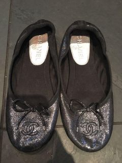 Authentic Chanel limited edition sparkly flats size 36.5