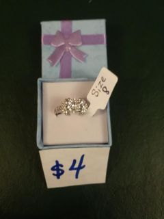 Size 8 silver plated stamped 925 ring for $4