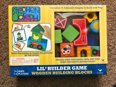 Stephen Jospeh Lil Builder Game, wooden blocks and 3 different skill level cards, GUC, $12. Discount for porch pick up.