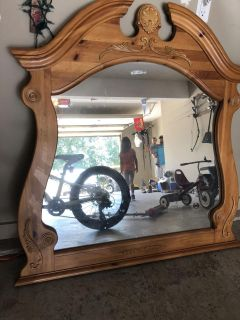 Solid wood heavy nice mirror, great farmhouse look- solid wood- 4 ft x 4ft- PRICE FIRM WILL NOT DROP