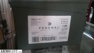 For Sale: 420 Rounds Federal 5.56 FMJ Green Tip Ball ammo in the can