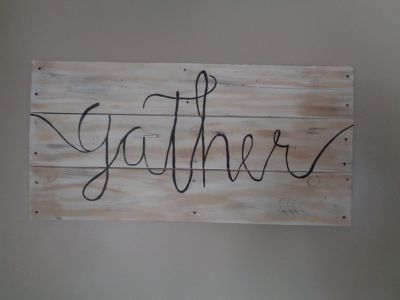 "Wood Pallet Gather sign 33-1/2"" x 16-1/2"" HANDMADE"