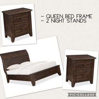 Queen Bed Frame and 2 Night Stands