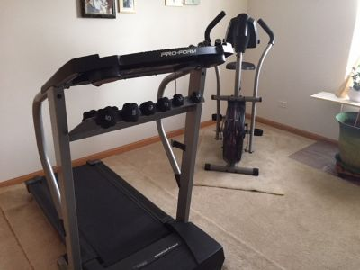 Stationary bicycle and Treadmill with weights