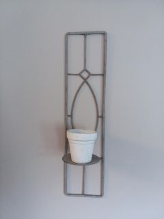 Antiques grey wrought iron plant holder