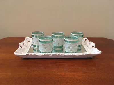 Set of Five Mosaic Votives on Ivory Mirrored Tray