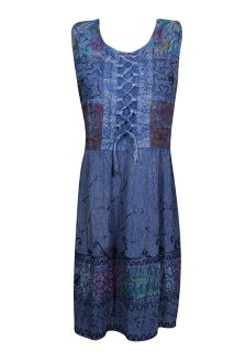 Womens Blue Fit Flare Embroidered Sleeveless Summer Lace Up Dress M
