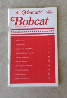 Sell 1976 Mercury Bobcat Owners Manual motorcycle in Bloomfield Hills, Michigan, United States