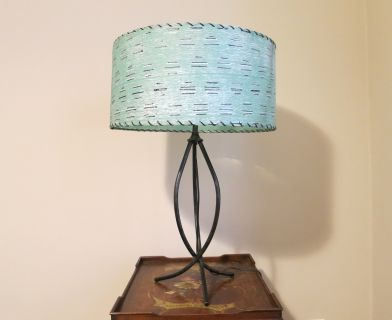 Mid Century Lamp with Aqua Shade