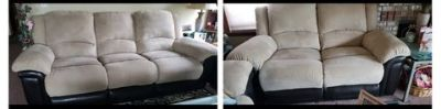 Manual recliner microfiber couch