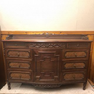 Antique 1910 Ornate Dresser with Caning