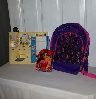 """Girl's backpack (new), play kitchen 10.5"""" by 12.5"""", and Be Bold Be Brave Tin. All for $8"""