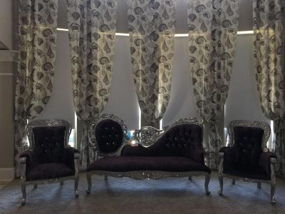 Purple and silver 3 piece set - 2 chairs and sofa