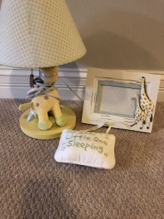 Baby decor night stand light , door hanger, and picture frame