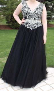 Black and sparkle prom dress size 16